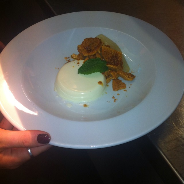 Yummy Vanilla Panna Cotta, Poached Pears and Honeycomb Toffee! Only £4.75!